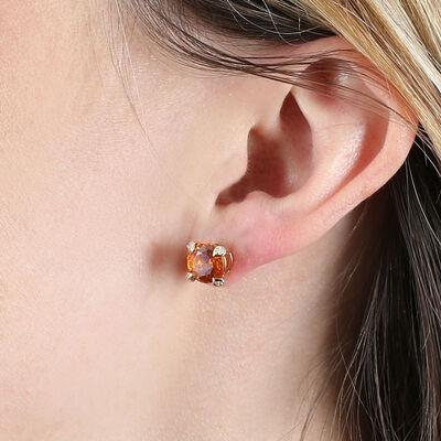 Sphalerite & Diamond Stud Earrings 14K