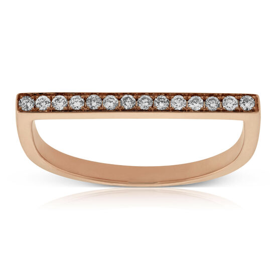 Rose Gold Diamond Bar Ring 14K