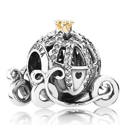 Pandora Disney Cinderella's Pumpkin Coach Charm, Silver & 14K