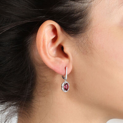 Rhodolite Garnet & Diamond Earrings 14K