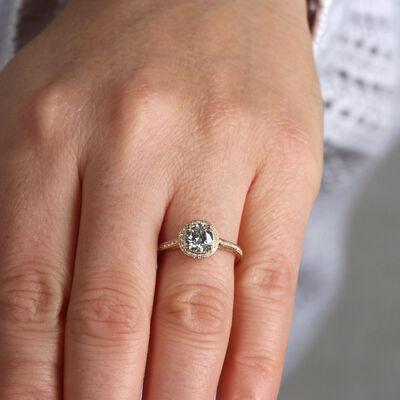 Diamond Halo Engagement Ring 14K
