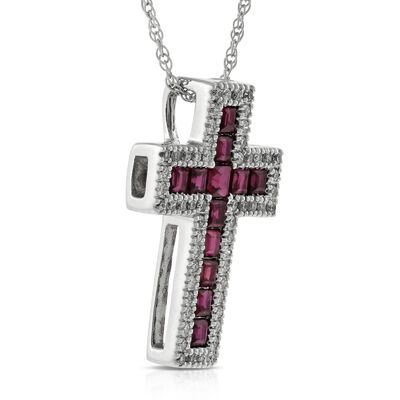 Ruby & Diamond Cross Pendant 14K