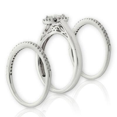 Double Band Diamond Wedding Set 14K