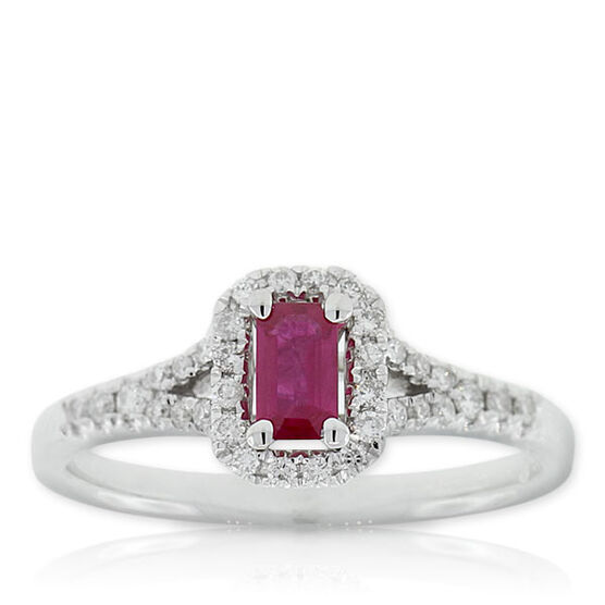 Halo Ruby & Diamond Ring 14K