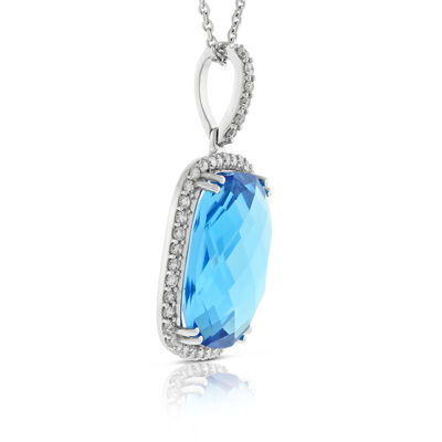 Blue Topaz & Diamond Pendant 14K