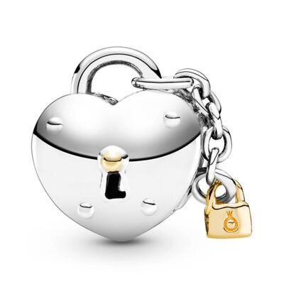 Pandora Two-Tone Heart and Lock Charm, 14K & Silver