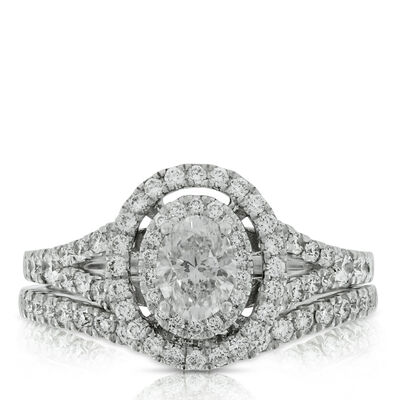 Oval Cut Diamond Bridal Set 14K