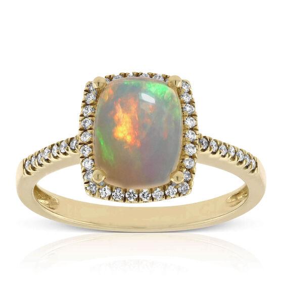 Cushion Shaped Opal & Diamond Ring 14K