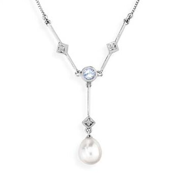 Freshwater Cultured Pearl & Aquamarine Necklace 14K