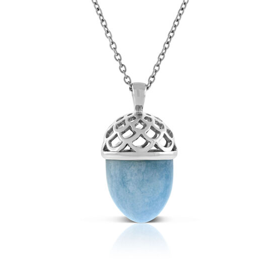 Lisa Bridge Aquamarine Wave Bullet Pendant, 24""