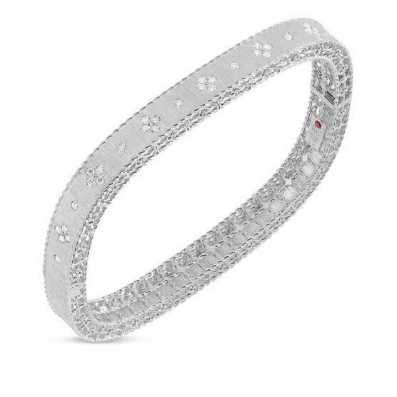 Roberto Coin Symphony Princess Satin Finish Diamond Bangle 18K