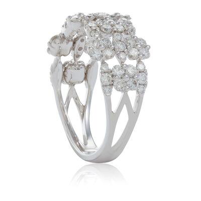 Cushion & Marquise Shaped Diamond Cluster 3-Row Band 14K
