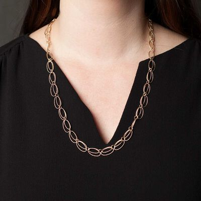 Toscano Double Oval Link Necklace 14K, 24""