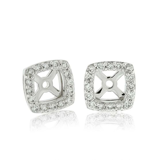 Cushion Shape Diamond Earring Jackets 14K