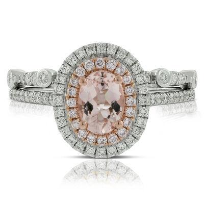 Morganite & Diamond Bridal Set 14K