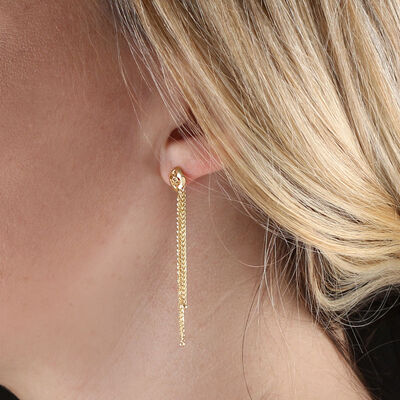 Wheat Chain Tassel Earrings 14K