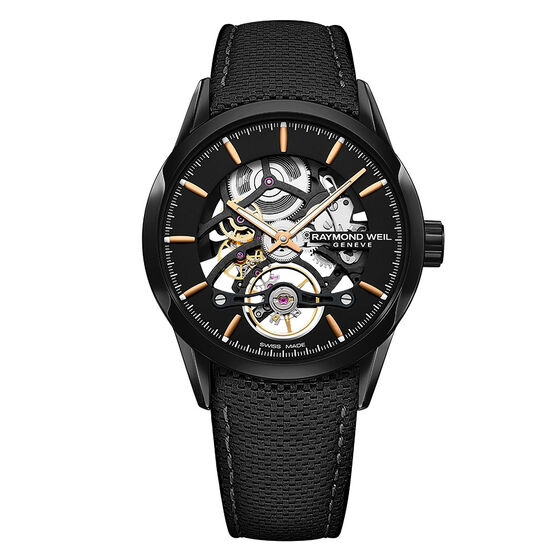 Raymond Weil Freelancer Calibre RW1212 Skeleton Automatic Black PVD Watch, 42mm