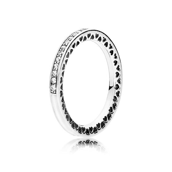 PANDORA Hearts of Pandora Silver Enamel CZ Ring