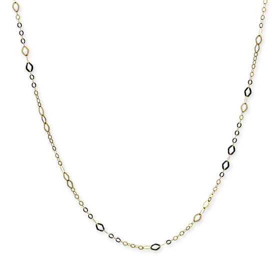 Link Chain with Marquise Stations 14K, 24""