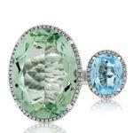 Double Oval Green Quartz, Topaz & Diamond Ring 14K