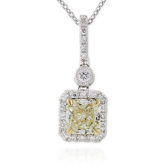 Radiant Cut Yellow Diamond Halo Pendant 18K, 3/4 ct. Center