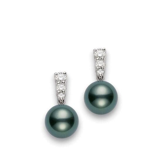 Mikimoto Black South Sea Cultured Pearl & Diamond Earrings, 9mm, A+ 18K