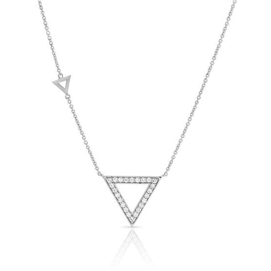 Diamond Triangle Geometric Necklace 14K