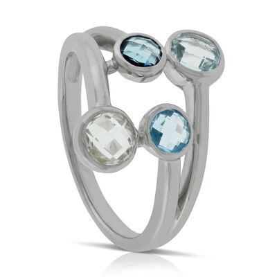 Graduated Color Blue & White Topaz Ring 14K