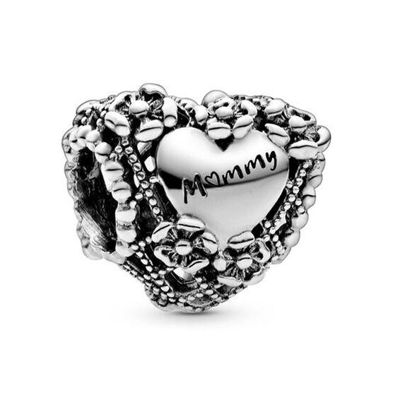 Pandora Openwork Flower Heart Mommy Charm