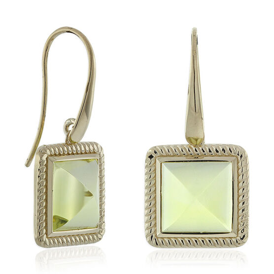 Green Quartz Pyramid Rope Bezel Set Earrings 14K