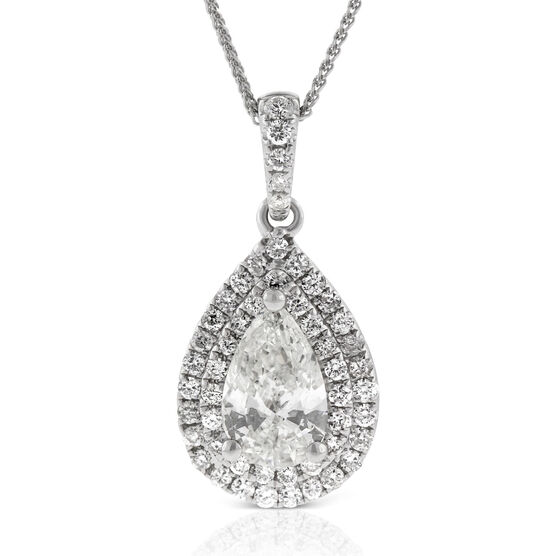 Pear Shaped Diamond Pendant 14K
