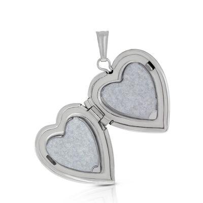 Hand Engraved Diamond Heart Locket in Sterling Silver