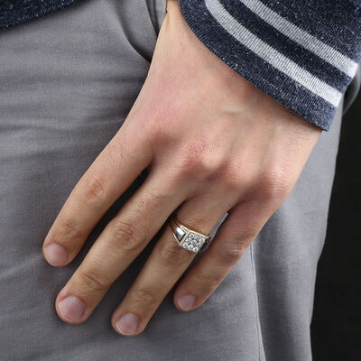 Men's Square Pavé Diamond Ring 14K