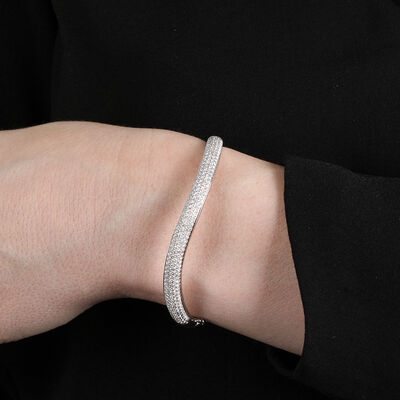 Diamond Wave Bangle 14K, 2.57 ctw.