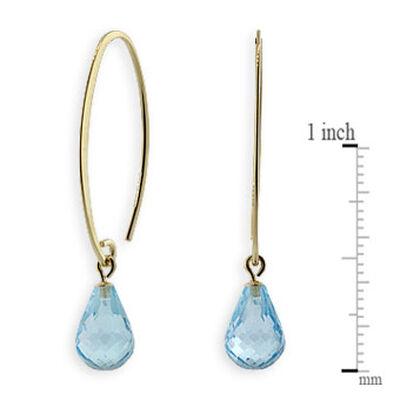 Blue Topaz Drop Earrings 14K