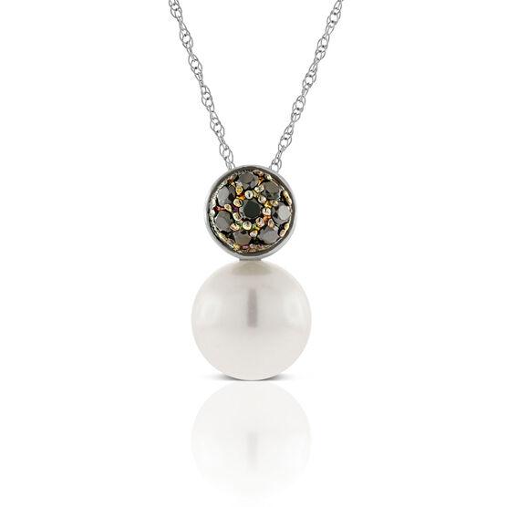 Cultured Pearl and Black Diamond Pendant 14K