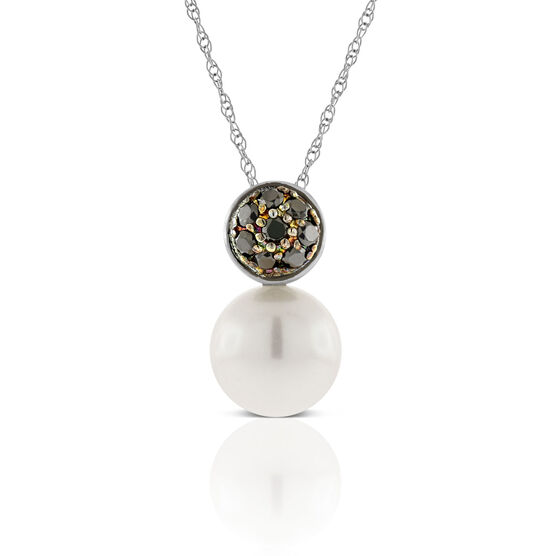 Cultured Pearl and Black Diamond Pendant 14K