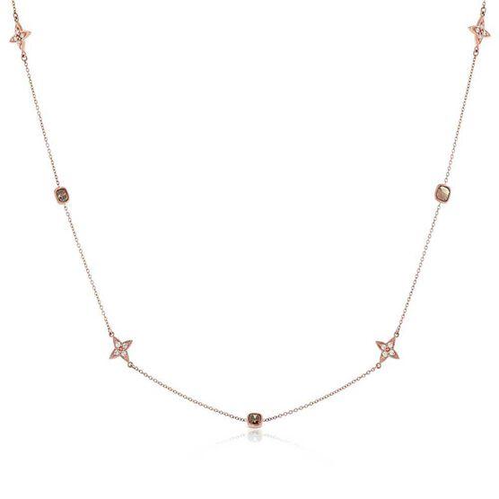 Rose Gold Brown & White Diamond Alternating Shapes Necklace 14K