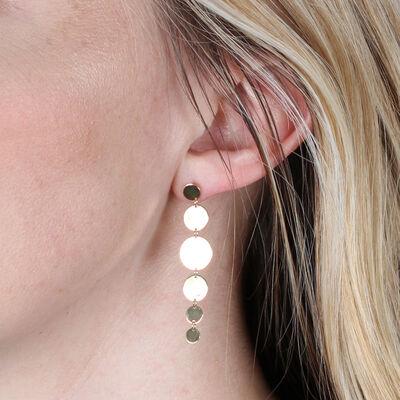 Mirror Disk Dangle Earrings 14K
