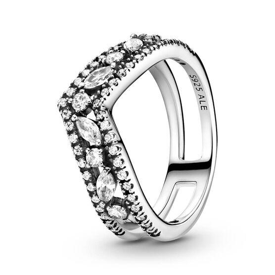 Pandora Sparkling Marquise Double Wishbone CZ Ring