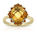 Oval Citrine & Diamond Ring 14K