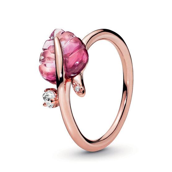Pandora Rose™ Pandora Wonderland Pink Murano Glass Leaf & CZ Ring