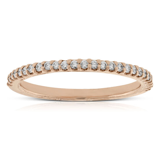 Rose Gold Engraved Diamond Band 14K