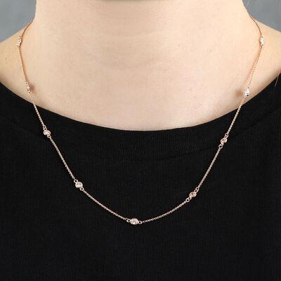 Rose Gold Bezel Set 12-Station Diamond Necklace 14K