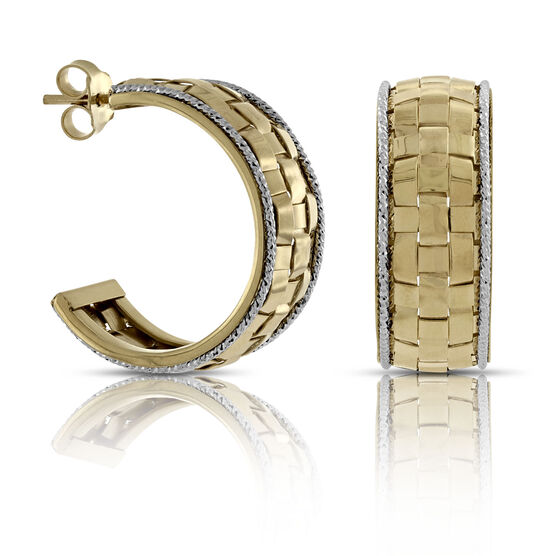 Toscano Two-Tone Hoop Earrings 14K