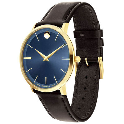 Movado Ultra Slim Blue DIal Gold PVD Watch, 40mm
