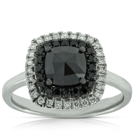 Rose Cut Black Diamond Ring 14K
