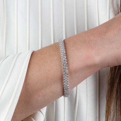 Three Row Diamond Bracelet 14K,  6.95 ctw.
