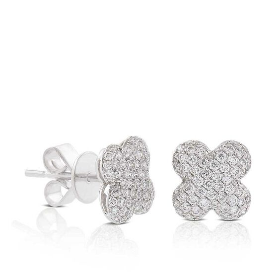 Diamond Pavé Clover Stud Earrings 14K