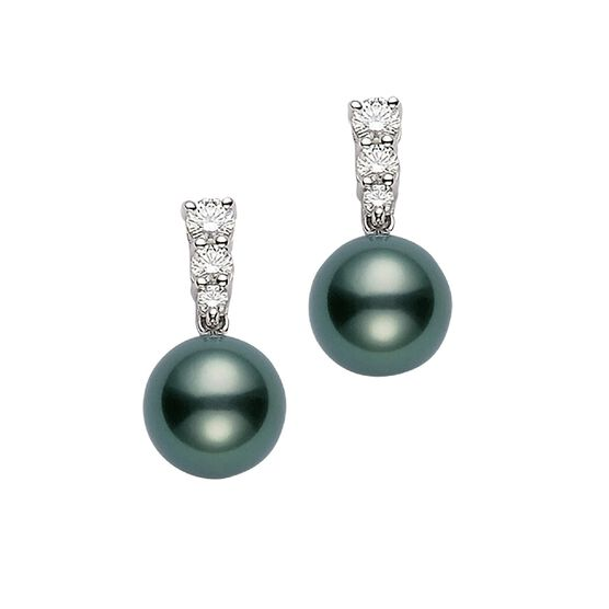 Mikimoto Morning Dew Cultured Black South Sea Pearl & Diamond Earrings 18K